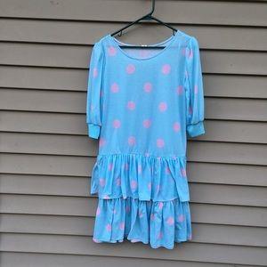80s vintage polka dot ruffle dress